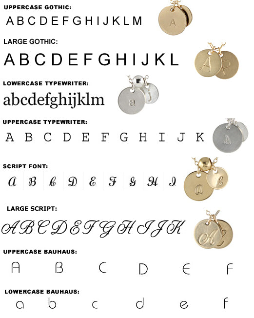 Fonts available for initial charms
