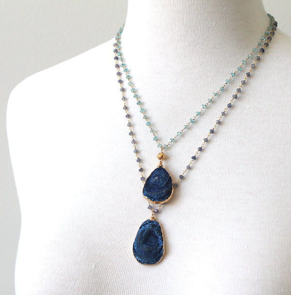 Deep Blue Druzy necklaces by Peggy Li