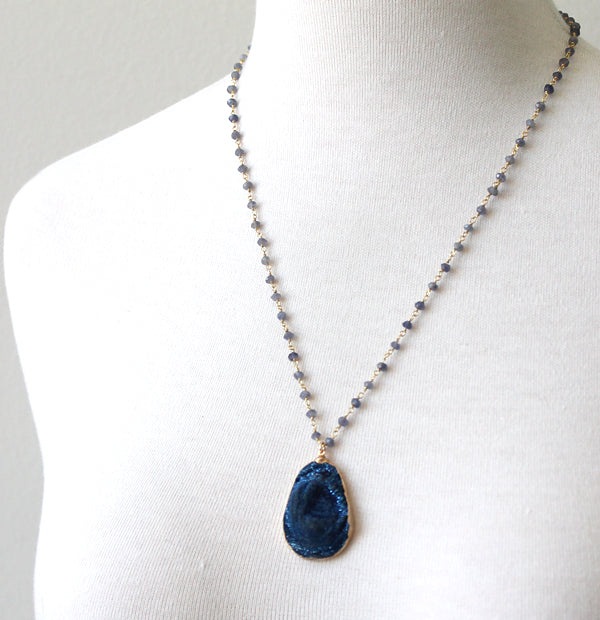 Deep Blue Druzy necklace by Peggy Li