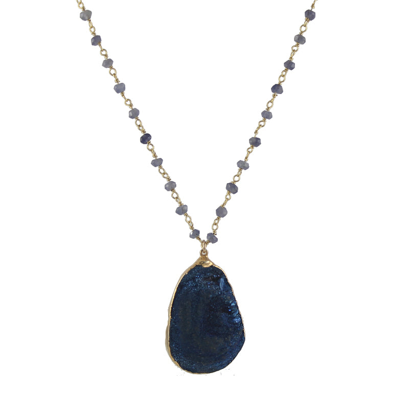 Deep Blue Druzy Necklace #2