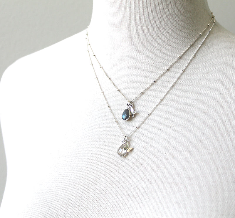 Teardrop gemstone necklace, silver