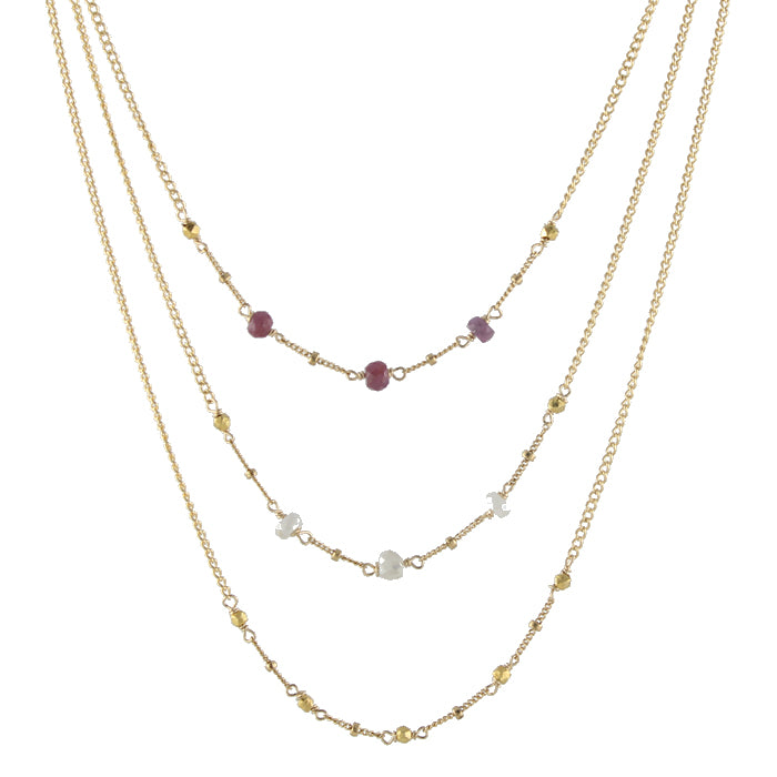 Gemmy Beaded Necklaces in sapphire, silverite