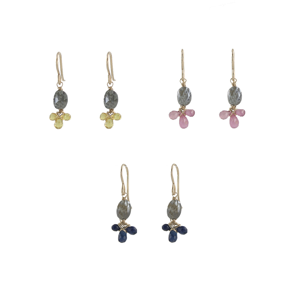Gem fleur earrings blue sapphires