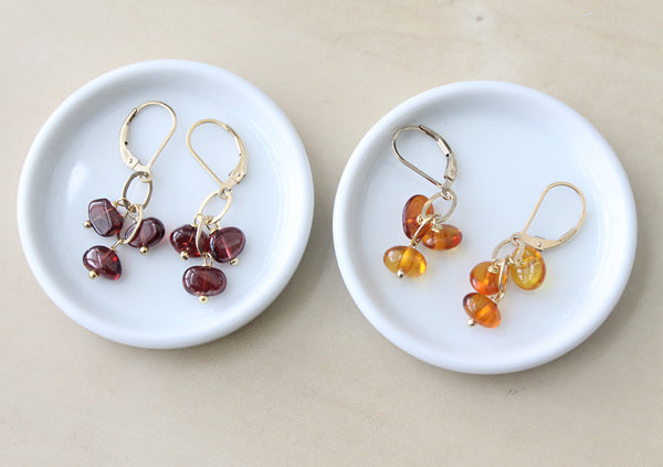 Tumbled Gemstone Earrings garnet and amber in silver
