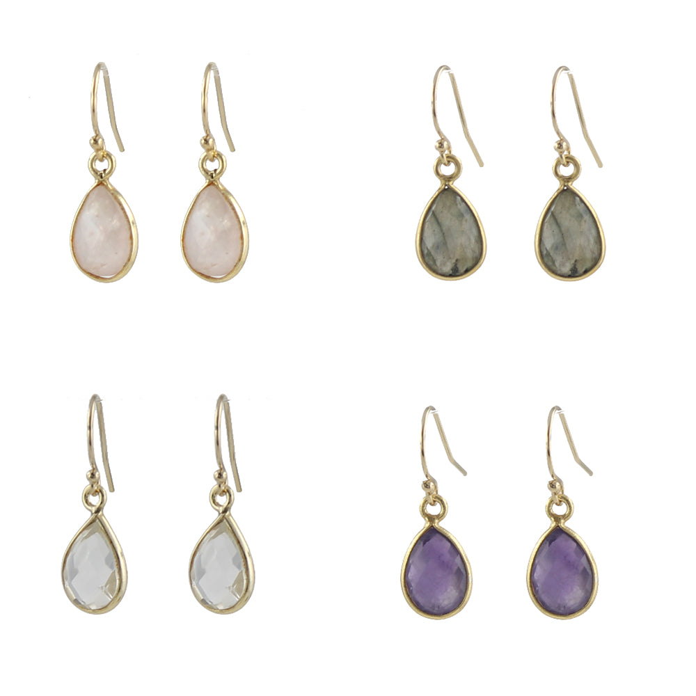 Simple Gem Teardrop Earrings