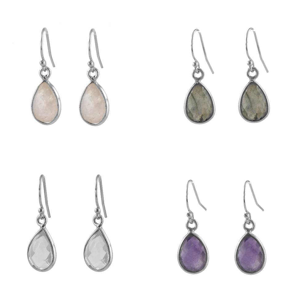 Simple Teardrop gemstone earrings silver