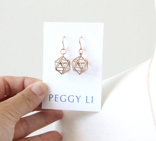 Globe Cage Earrings in bronze