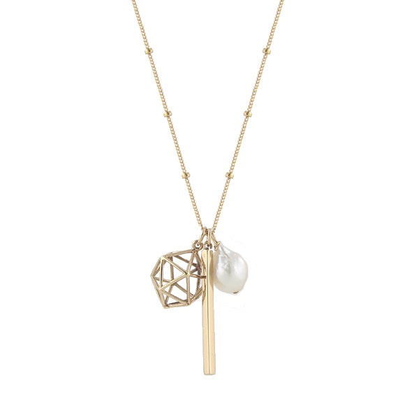 Globe Charms Necklace - Pearl
