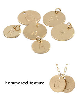 Assorted hand stamped gold initial charms