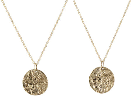 Ancient Coin Necklace - griffin and lion