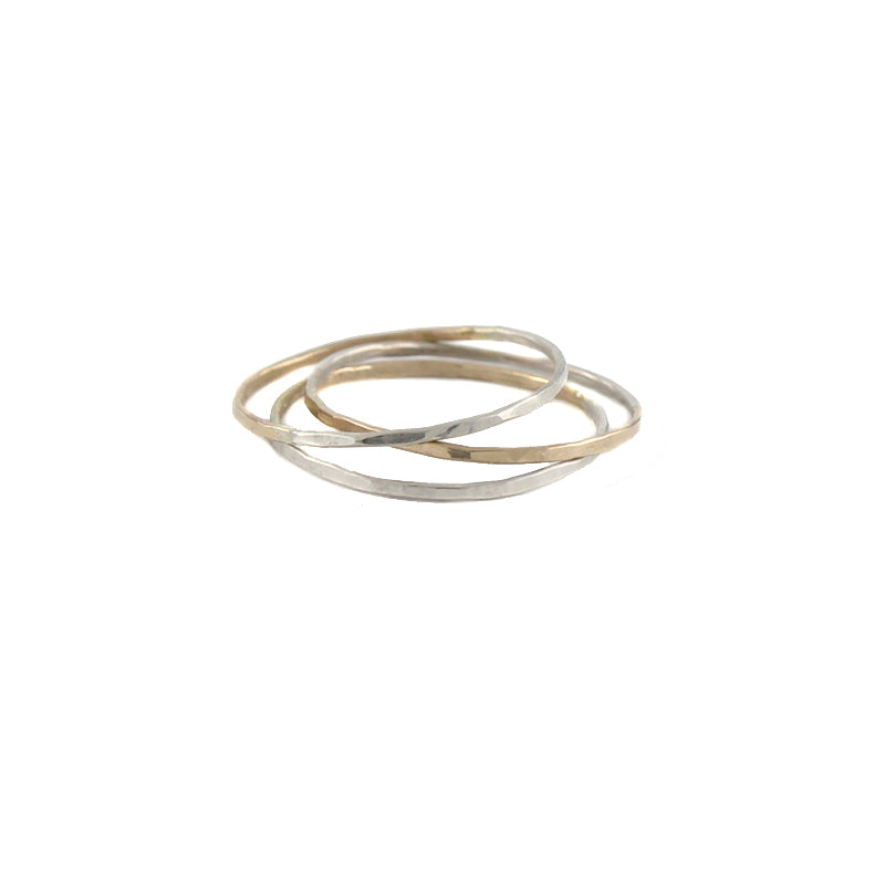 Half silver and half gold thin stacking rings