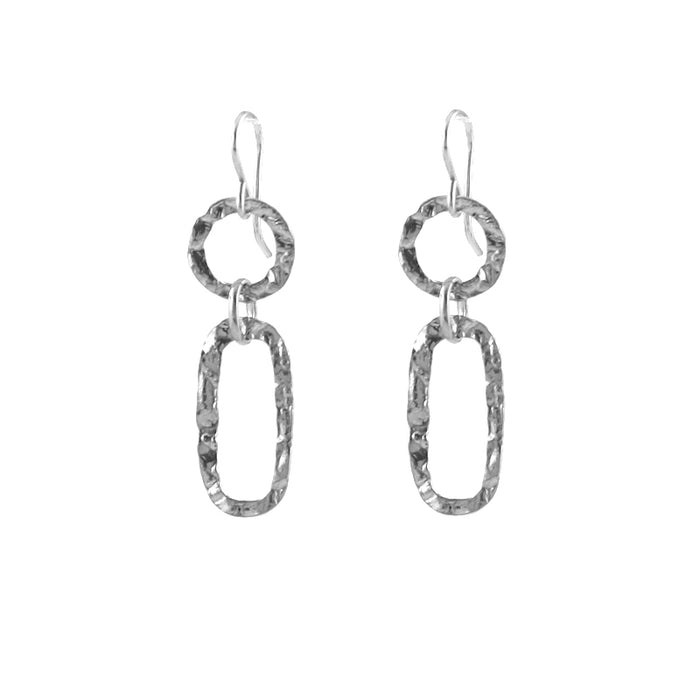 Hammered Link Earrings in silver