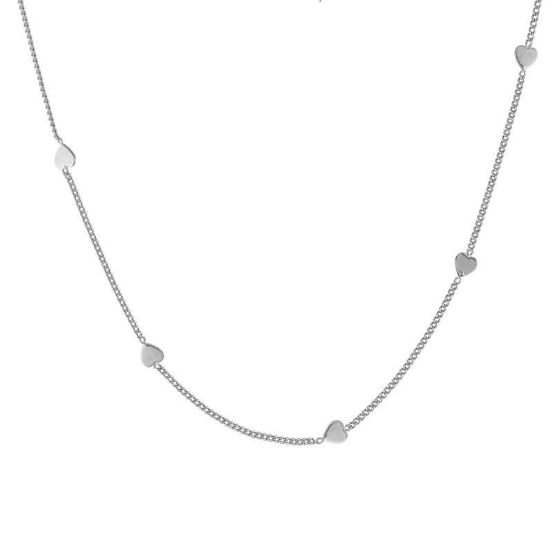 Slim hearts necklace, silver