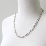 Heavy mixed link necklace, sterling silver
