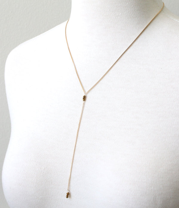 Hematite Lariat Necklace, detail