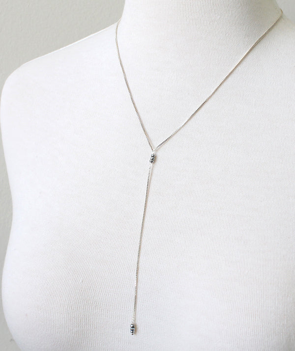 Hematite Lariat Necklace, sterling silver