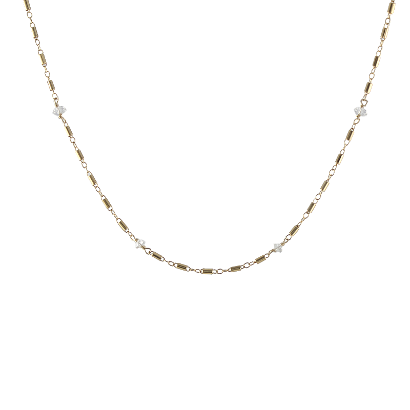 Herkimer Beaded Barrel Chain Necklace