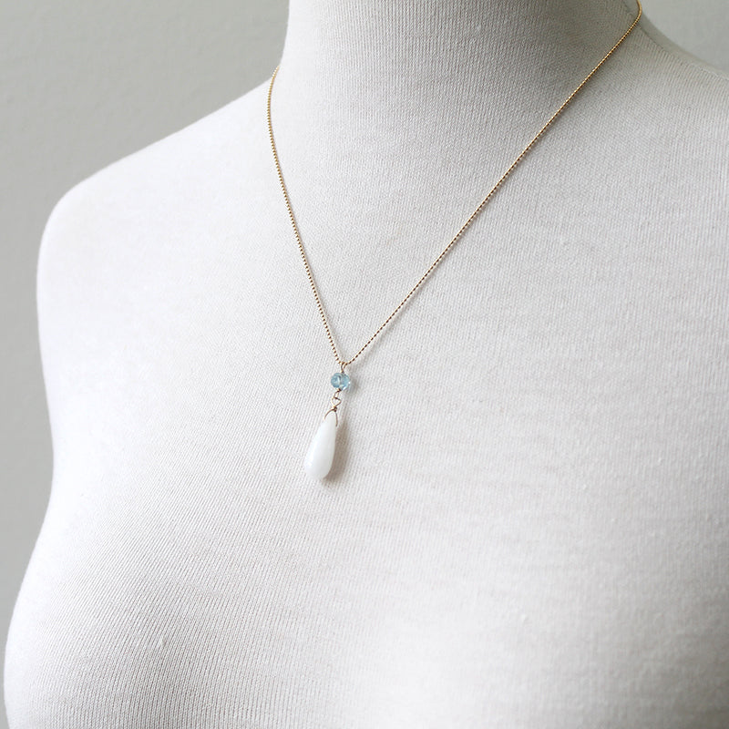 Icicle Necklace, white agate and aquamarine