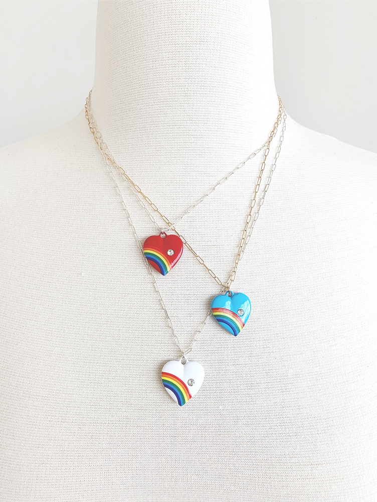 Retro rainbow heart pendant