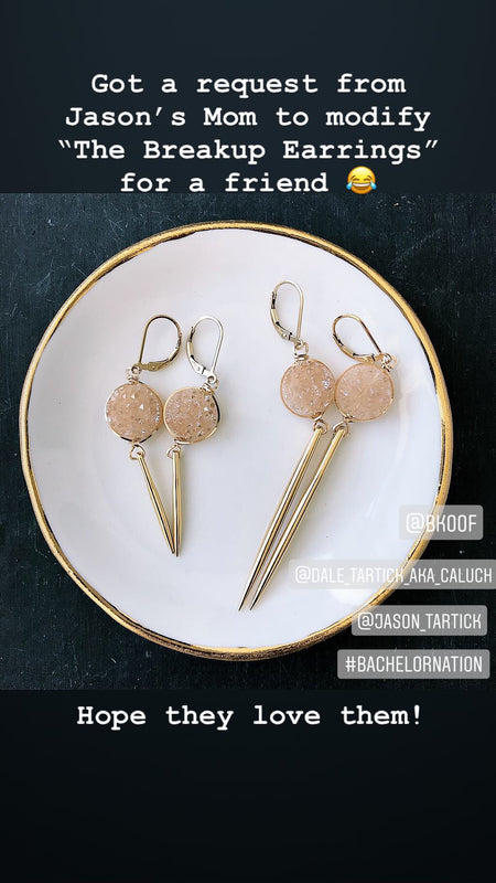 Short Druzy Spike Earrings