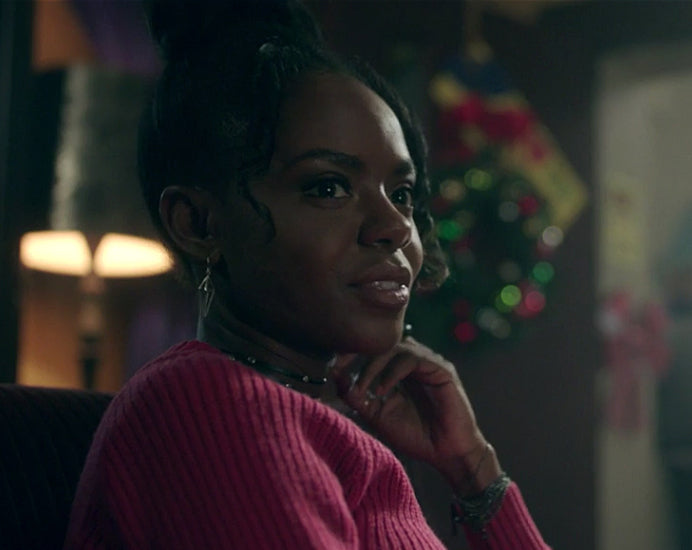 Josie (Ashleigh Murray) on Riverdale wearing Triangle Earrings by Peggy Li Creations