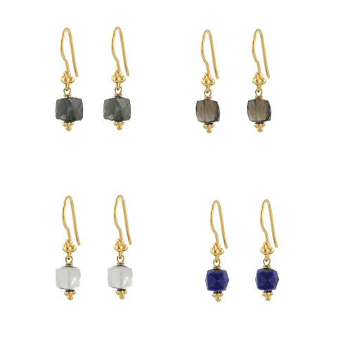 Cubed gemstone earrings