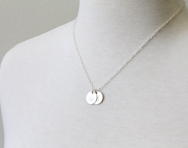 Example of Large Letter Initial Necklace in silver