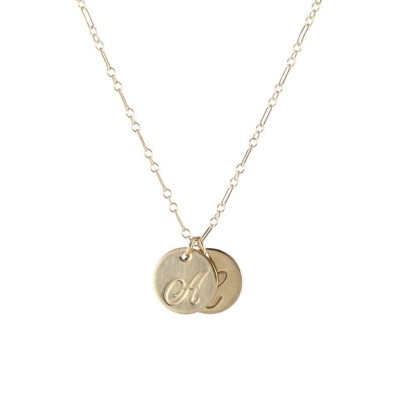 Large Cursive Script Initial Necklace, gold