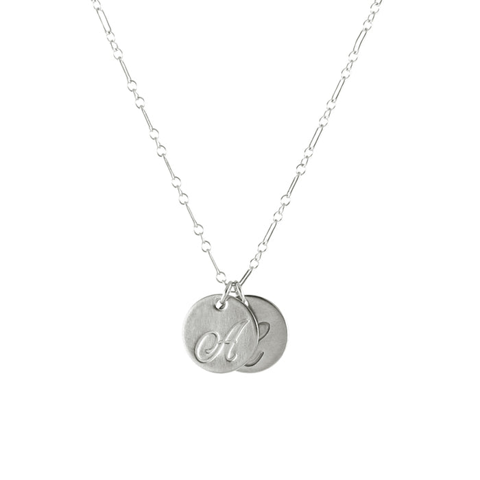 Large Letter Script Initial necklace, silver