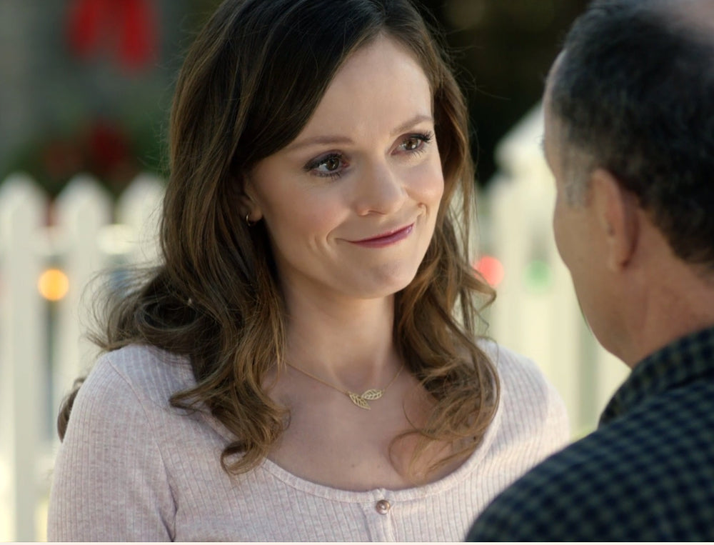 Rachel Boston wears a Leaf Necklace on A Rose for Christmas