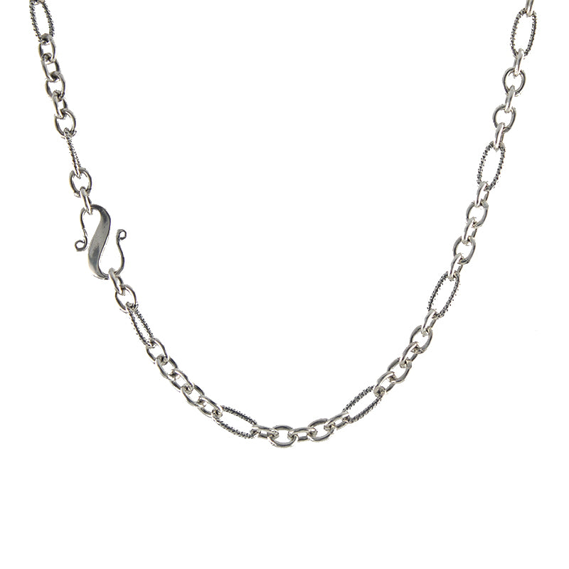 S clasp silver mixed link chain necklace