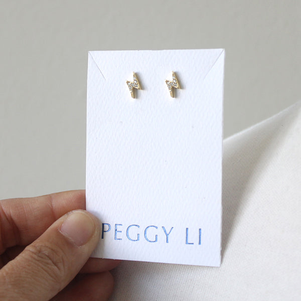Mini lightning bolt post earrings in gold plate