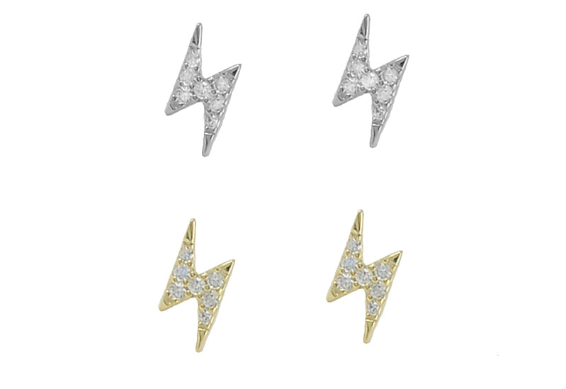Mini CZ Lightning Bolt Post Earrings