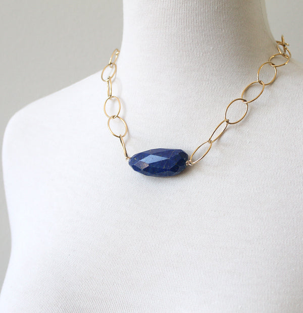 Loopy necklace in lapis on 14k gold-filled
