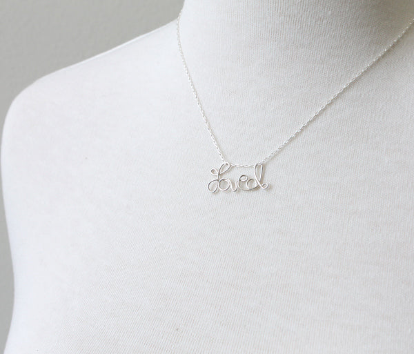 Custom Cursive Word Necklace sterling silver