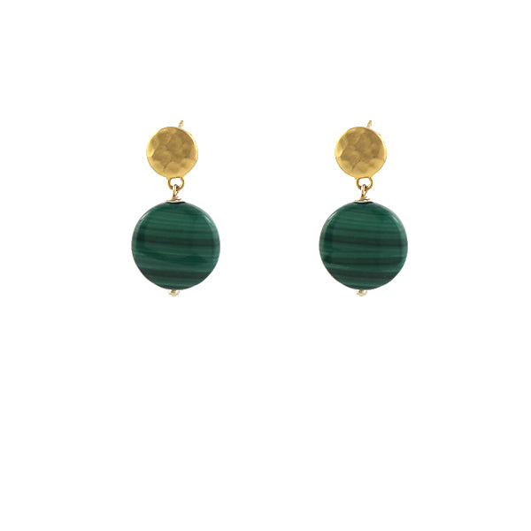 Malachite Dot Earrings
