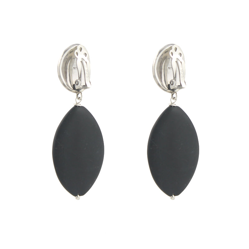 Matte Onyx Clipon Earrings