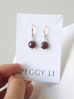 Garnet coin earrings