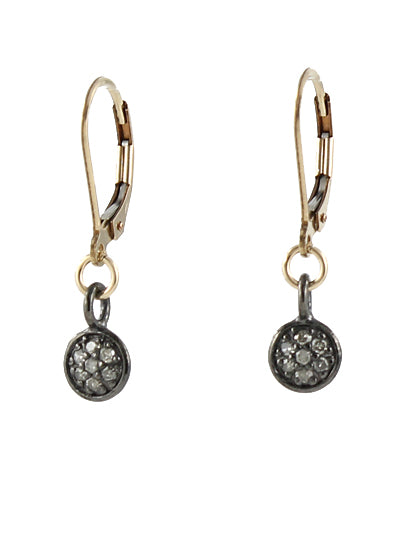 Mini Pave diamond earrings size