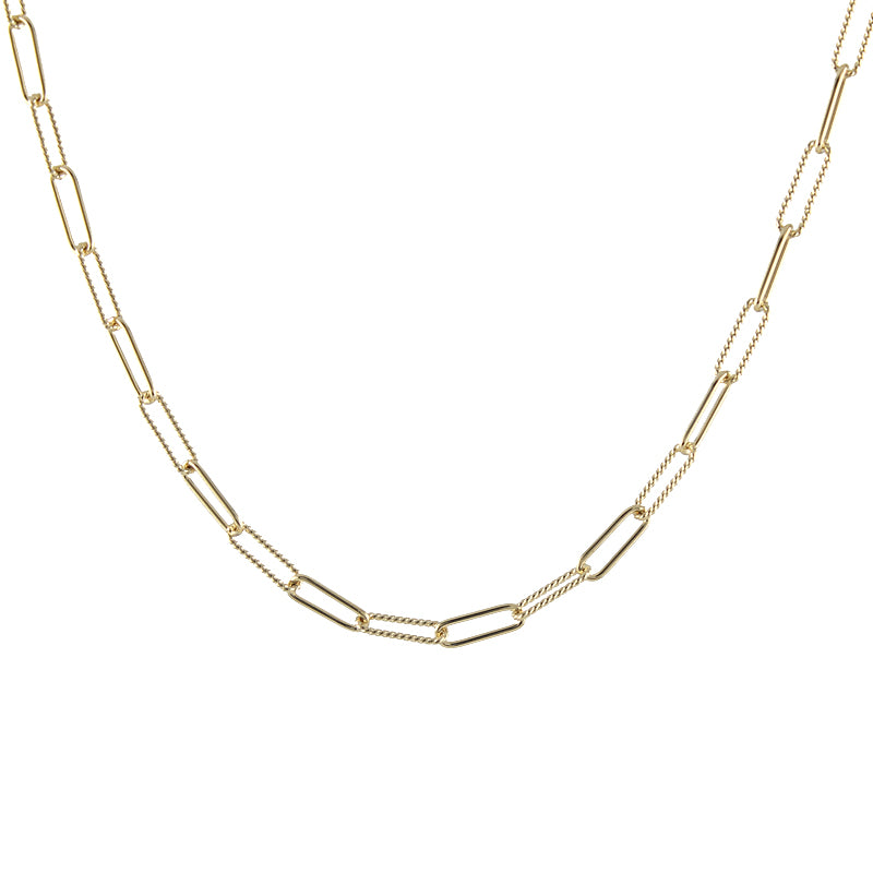 Mixed Chain Rectangle Link Necklace