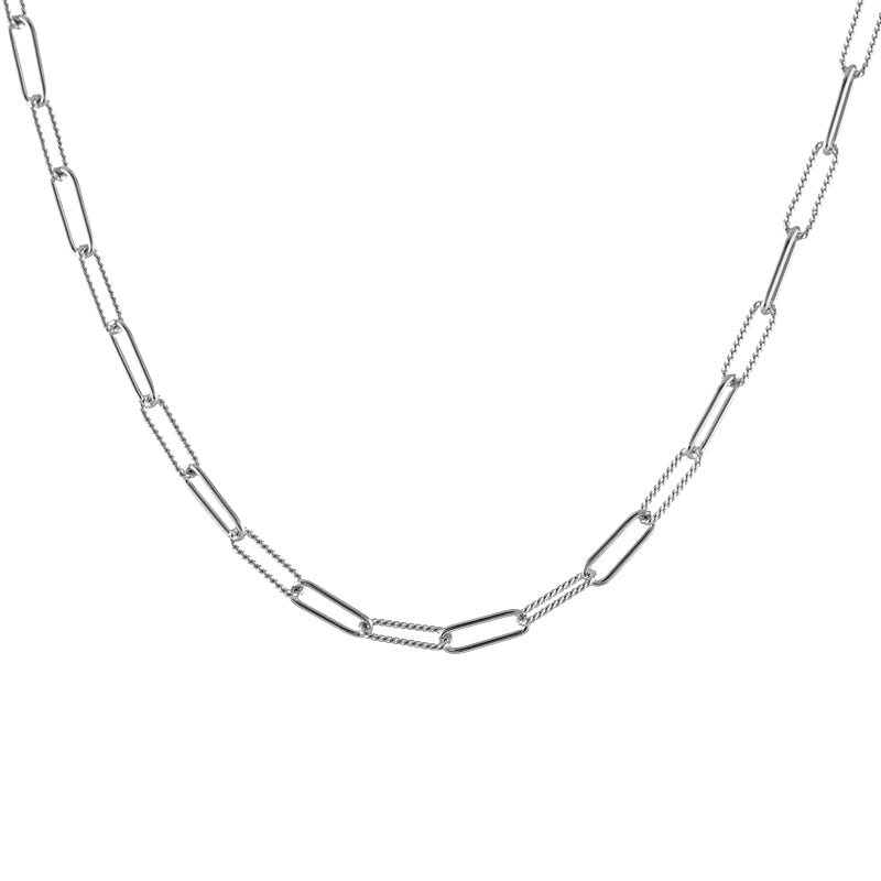 Mixed Chain Rectangle Link Necklace silver