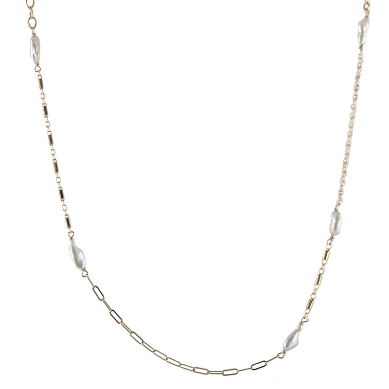 Mixed pearl chain necklace