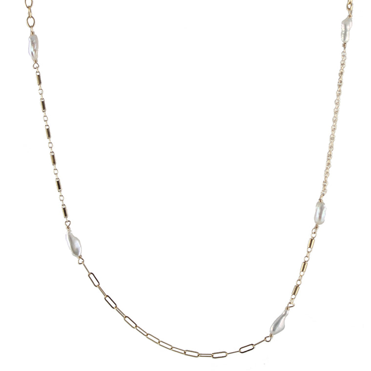 Mixed Chain Pearl Necklace