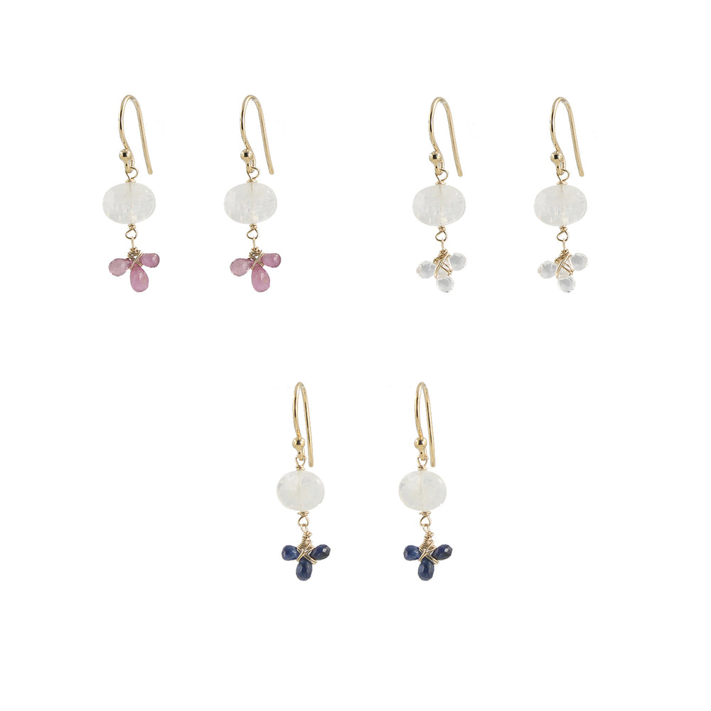 Moonstone Gem fleur earrings
