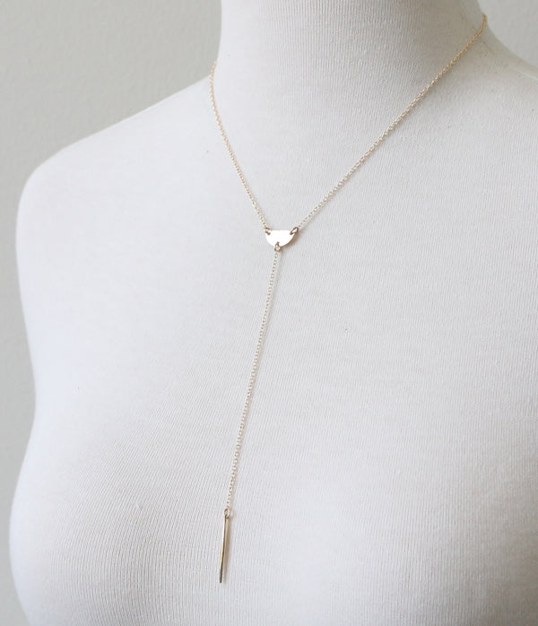 Half Moon Lariat Necklace, gold