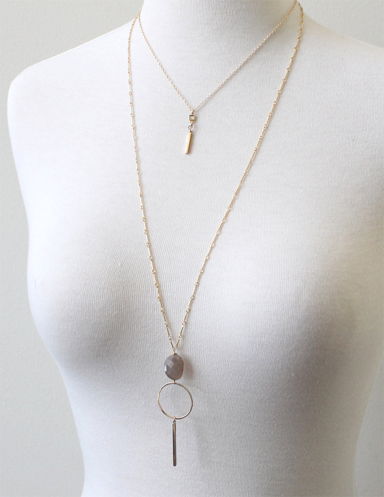 Short Moonstone Bar Necklace