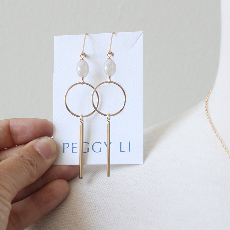 Moonstone Bar and dangle earrings