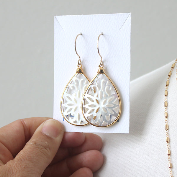 Scrollwork mother of pearl fan earrings