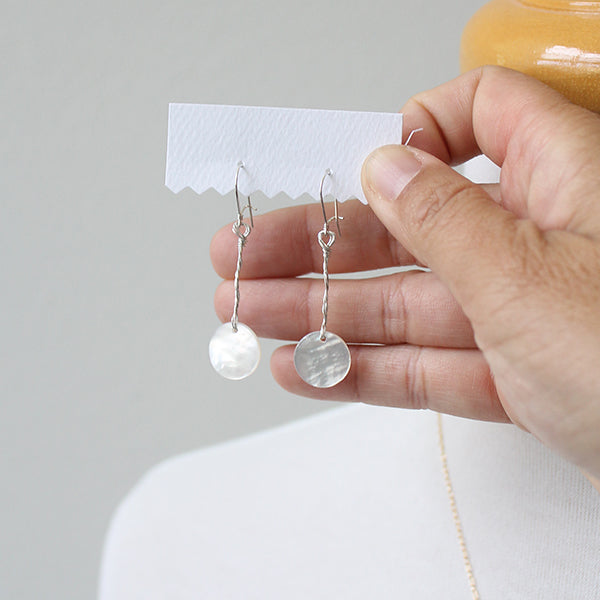 Mini Moon mother of pearl earrings