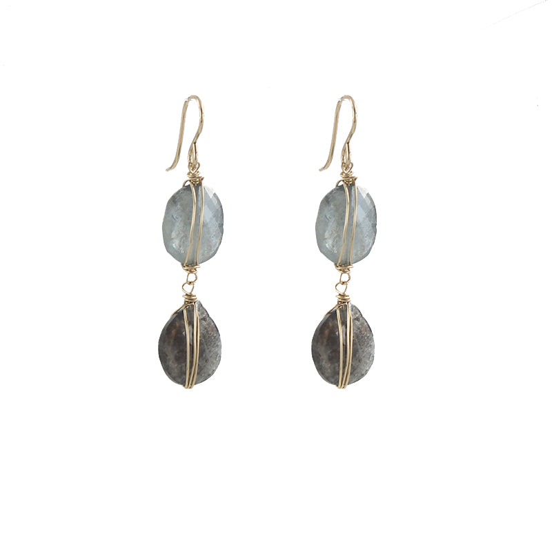 Dual Shade Aquamarine Earrings